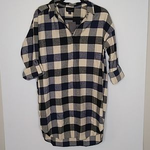 NWT Lumiere Blue Flannel Shirt Dress Size Large